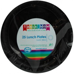 Lunch Plates 25 Pieces - Black