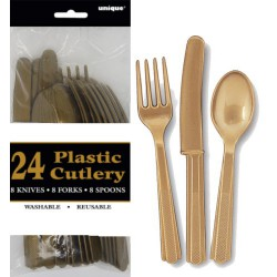 Assorted Cutlery 24pce - Gold