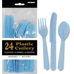 Assorted Cutlery 24pce - Light Blue