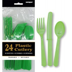 Assorted Cutlery 24pce - Lime Green