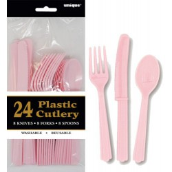 Assorted Cutlery 24pce - Pink