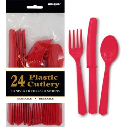 Assorted Cutlery 24pce - Red
