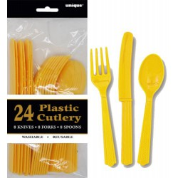 Assorted Cutlery 24pce - Yellow