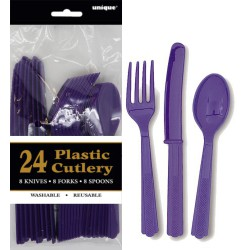 Assorted Cutlery 24pce - Purple