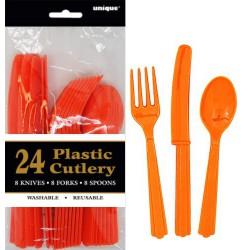 Assorted Cutlery 24pce - Orange