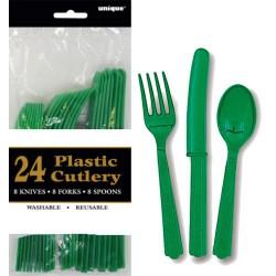 Assorted Cutlery 24pce - Emerald Green