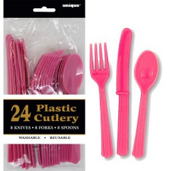 Assorted Cutlery 24pce - Hot Pink