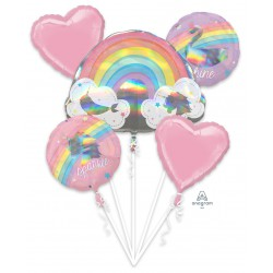 Rainbow foil balloon set