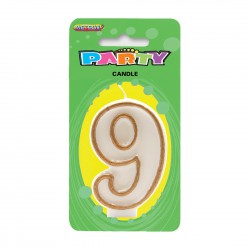 Gold Number Candle - 9