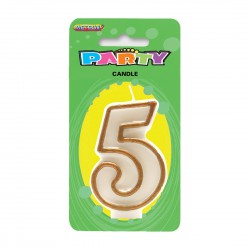 Gold Number Candle - 5