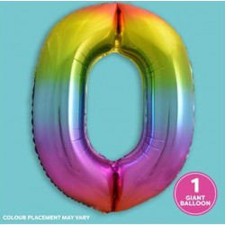 Rainbow Foil Number 0 Balloon