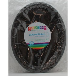 Oval Plates 25 Pce - Black