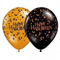 "Printed Latex Balloon- ""Hapy Halloween"" with moons and stars ORANGE"