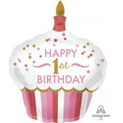 """Happy 1st Birthday"" Cupcake Foil Balloon- Pink"