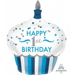 """Happy 1st Birthday"" Cupcake Foil Balloon- Blue"