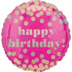 Happy Birthday Foil Balloon - Pink with Gold Polka Dots
