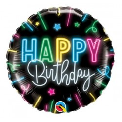Happy Birthday Foil Balloon- Neon Glow