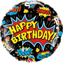 Happy Birthday Foil Balloon- Superhero Black