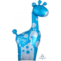It's a boy! Giraffe Foil Balloon- Blue