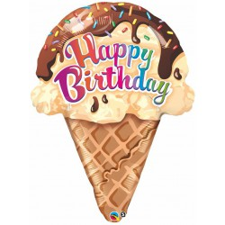 Happy Birthday Foil Balloon- Ice cream cone