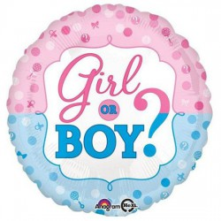 """Girl or Boy"" Foil Balloon- Blue and Pink"