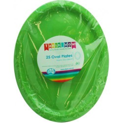 Oval Plates 25 Pce - Lime Green