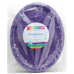 Oval Plates 25 Pce - Purple