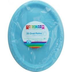 Oval Plates 25 Pce - Light Blue