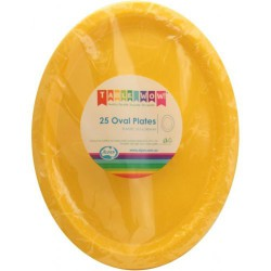 Oval Plates 25 Pce - Yellow