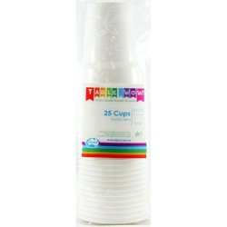 Party Cups 25 Pce, 285ml - White