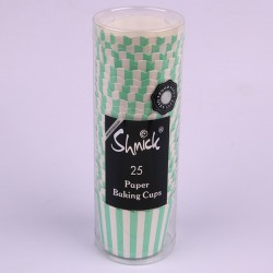 Paper Baking Cups-  Mint Stripe
