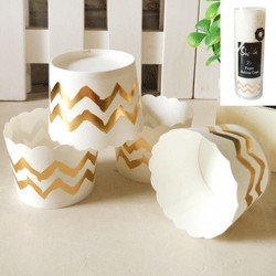 Metallic Gold Chevron Baking Cup