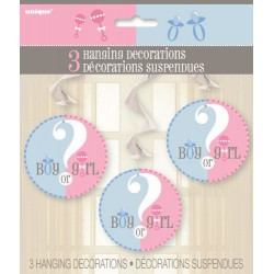 Baby Shower Gender Reveal Hanging Swirl Decorations