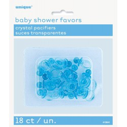 Baby Shower Favours-Crystal Pacifiers 18 Pack -Blue