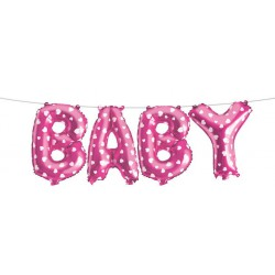 Baby Shower Baby Foil Balloon Banner- Pink