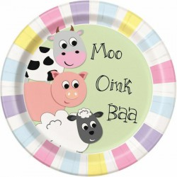 Moo Oink Baa Paper Plates- 8 Pack
