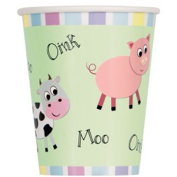 Moo Oink Baa Paper Cups- 8 Pack