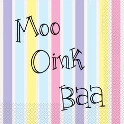 Moo Oink Baa Napkins - 16 Pack