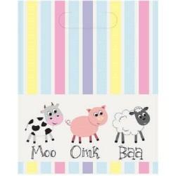 Moo Oink Baa Loot Bags- 8 Pack