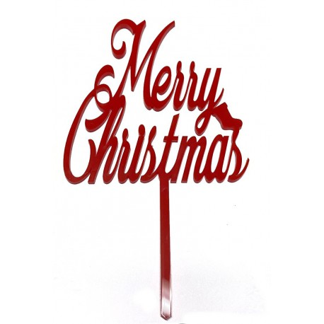 """""""Merry Christmas"""" Cake Topper- Red"""