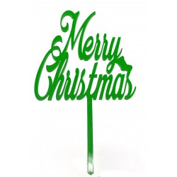 """Merry Christmas"" Cake Topper- Green"