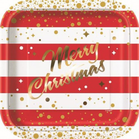 Square Red and Gold Sparkle Christmas Large Plates -8 pack