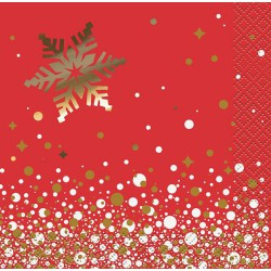 Red and Gold Sparkle Christmas Cocktail Napkins -16 pack