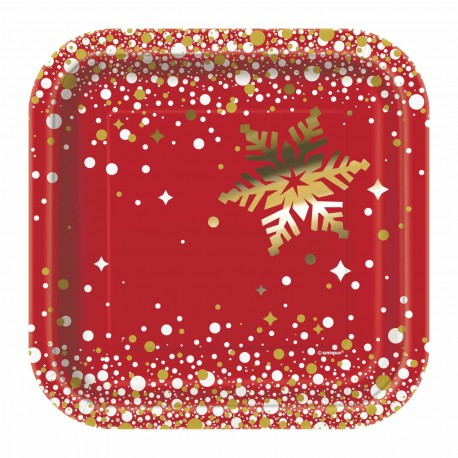 Square Red and Gold Sparkle Christmas small Plates -8 pack