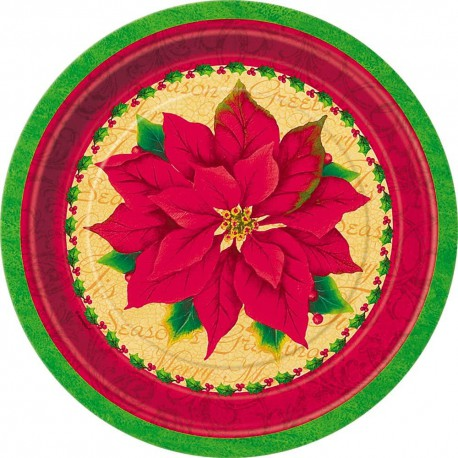 Round Classic Poinsettia Small Christmas Plates-8 pack