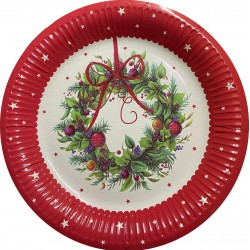 Large Christmas Wreath Plates- 8 pack