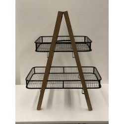 HEQ5-2 Tier Rustic Mesh Basket Stand FOR HIRE