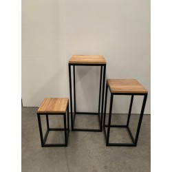 HEQ11-Rustic Metal Plinths- Brown/Wooden FOR HIRE