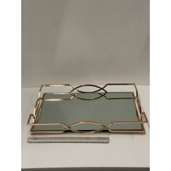 HEQ19-Mirror Tray Large- Rectangle Gold FOR HIRE