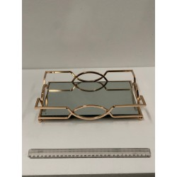 HEQ20-Mirror Tray Small- Rectangle Gold FOR HIRE